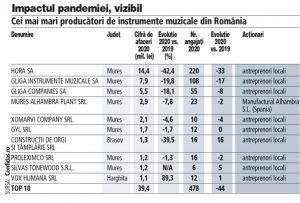 România a produs anul trecut instrumente muzicale în valoare de 50 mil. lei. Piaţa a scăzut cu 40% în pandemie şi s-a întors la nivelul lui 2009