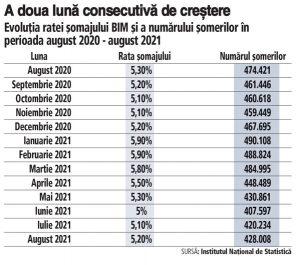 Rata şomajului din România a ajuns la 5,2% în luna august, a doua lună consecutivă de creştere. Numărul şomerilor a depăşit 428.000 în august, cu aproape 7.800 mai mulţi faţă de luna precedentă